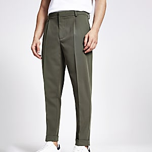 Green single pleat tapered fit trousers
