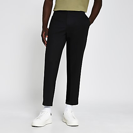 Black jersey tapered fit trousers