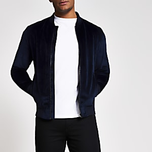 Jack and Jones –  Blouson en velours bleu marine