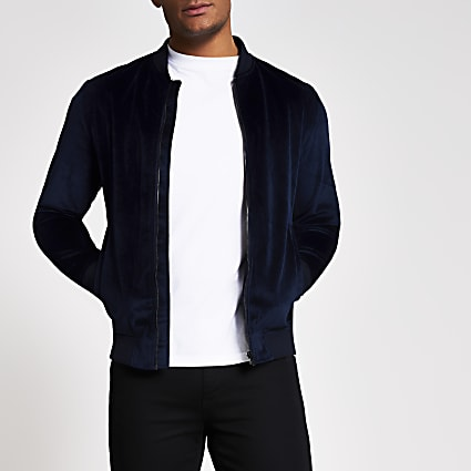 Jack and Jones navy velour bomber jacket