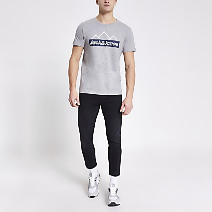 Jack and Jones grey printed T-shirt