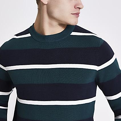 Jack and Jones green stripe knit jumper