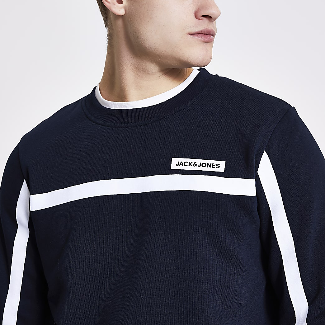 Jack and Jones navy tape sweatshirt