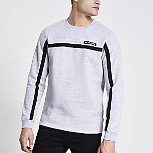 Jack and Jones - Grijze sweater met bies