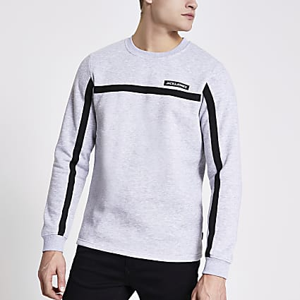 Jack and Jones grey tape sweatshirt