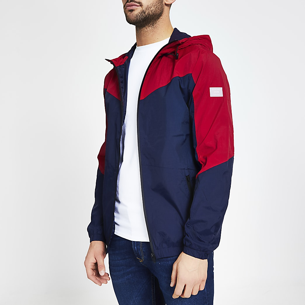 Jack and Jones navy colour blocked jacket