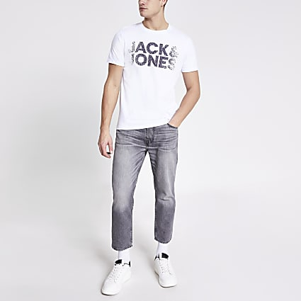 Jack and Jones white printed T-shirt