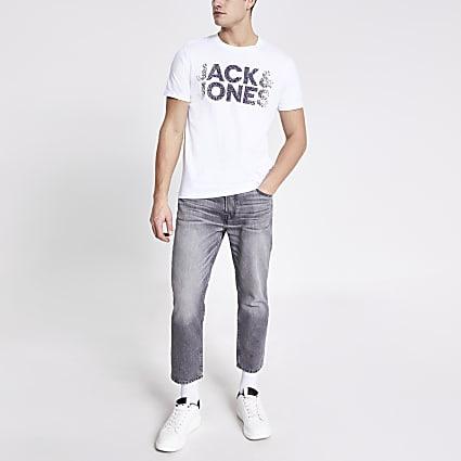 Jack and Jones white printed T-shirt