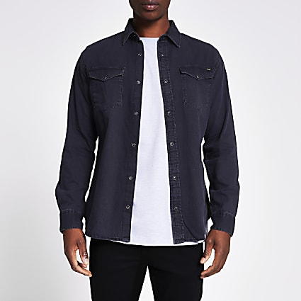 Black Jji Sheridan Denim Shirt Ls