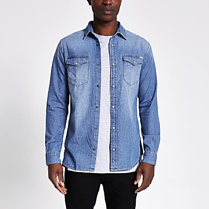 Blue - Jji Sheridan Denim Shirt Ls