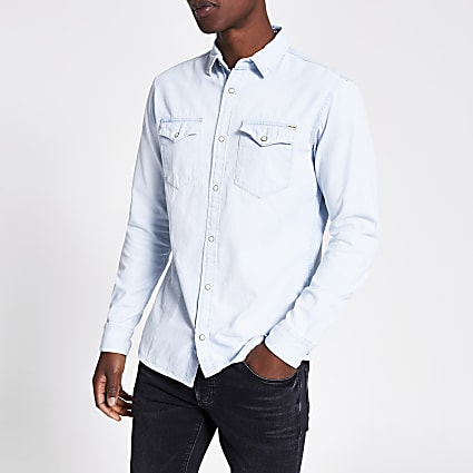 Blue - Light Jji Sheridan Denim Shirt Ls