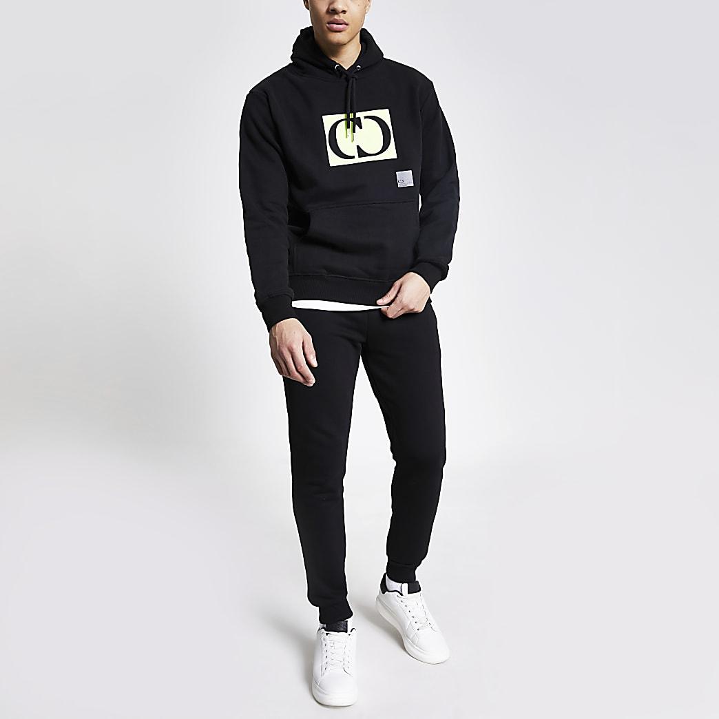 Criminal Damage black logo oversized hoodie