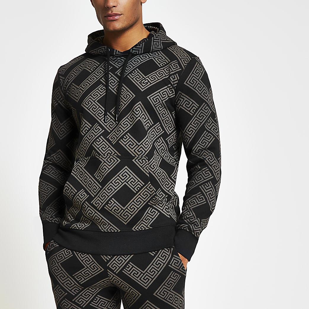 Criminal Damage - Zwarte slim-fit hoodie met print