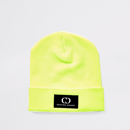 Criminal Damage neon green beanie hat