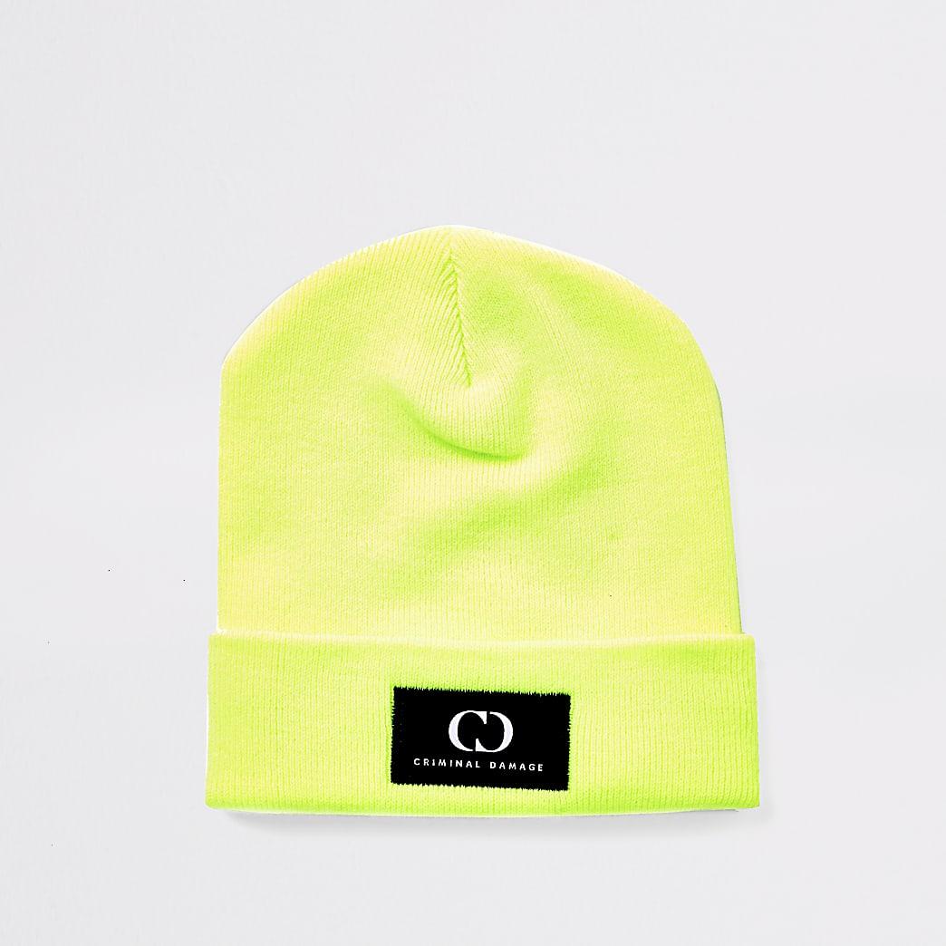 Criminal Damage neon green beanie hat