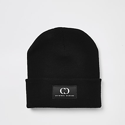 Criminal Damage black beanie hat