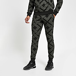 Criminal Damage - Zwarte slim-fit joggingbroek met print
