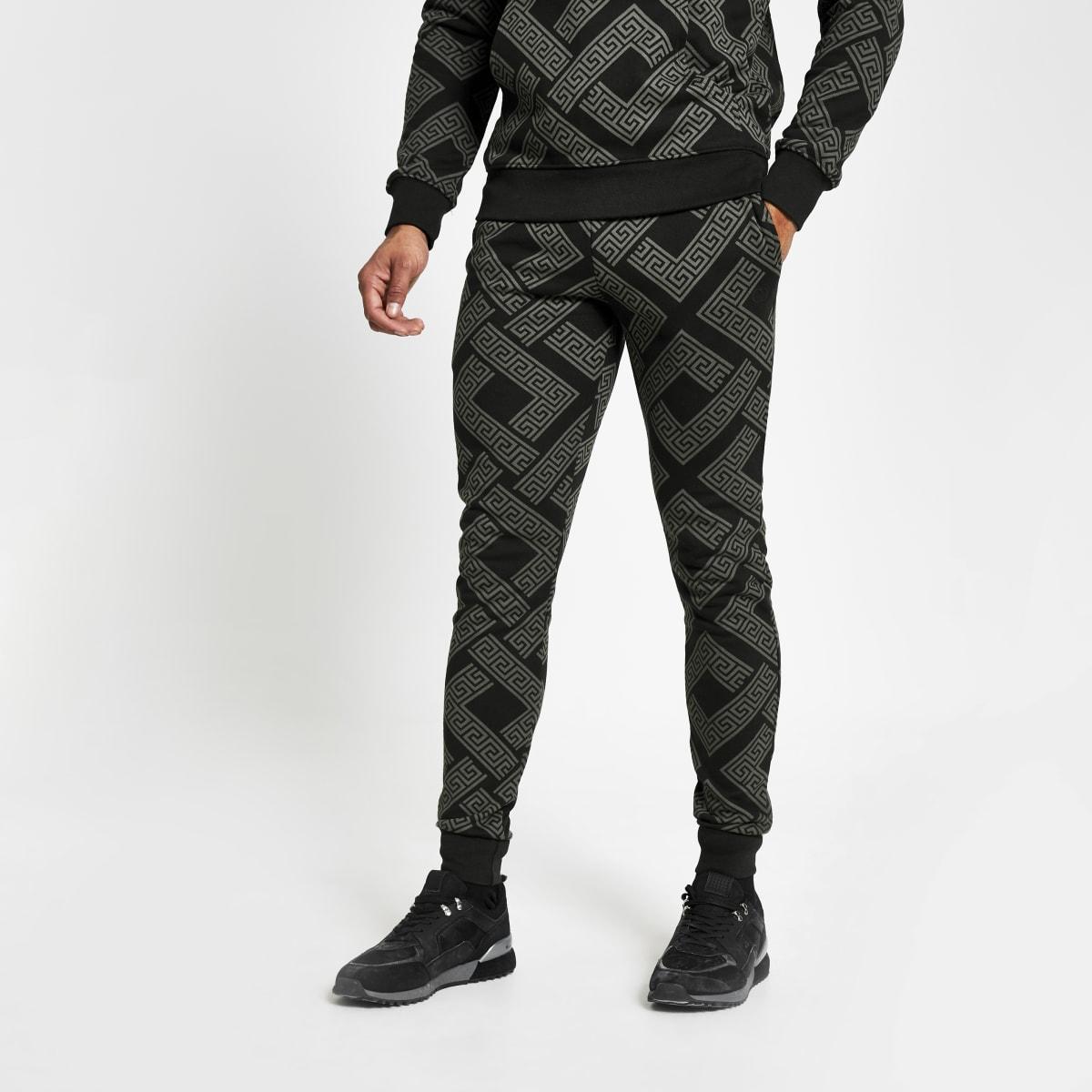 Criminal Damage - Zwarte slim-fit joggingbroek met print