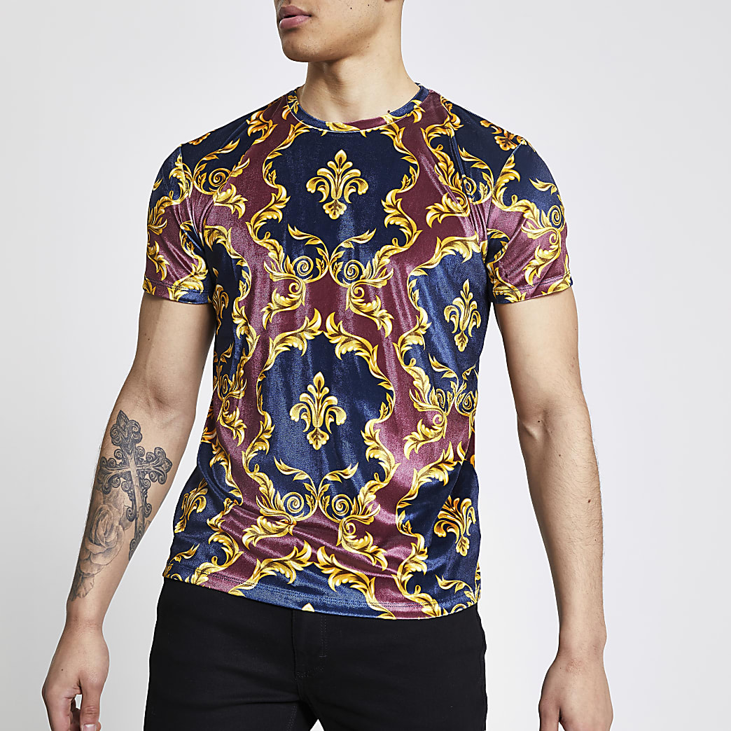 Criminal Damage navy printed velour T-shirt