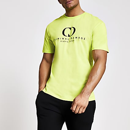 Criminal Damage green oversized T-shirt