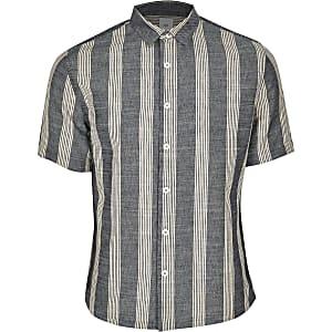 Big & Tall – Gestreiftes Hemd in Marineblau und Ecru