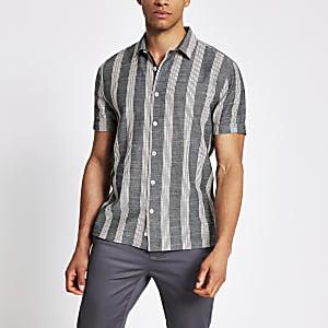 Kurzärmeliges Hemd in Marineblau mit Streifenmuster