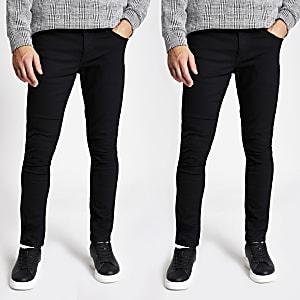 Zwarte skinnySid jeans set van 2