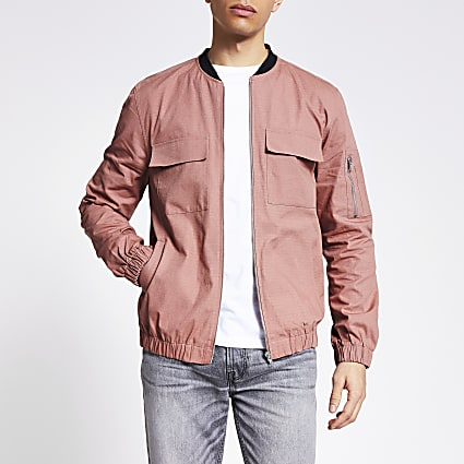 Pink long sleeve ripstop bomber jacket