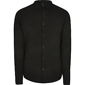 Big & Tall – Schwarzes, langärmeliges Piqué-Hemd