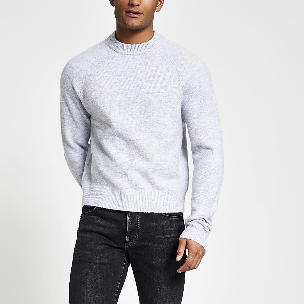 Grey long sleeve boxy fit knitted jumper
