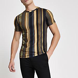 MaisonRiviera – Muscle Fit T-Shirt mit goldfarbenem Print