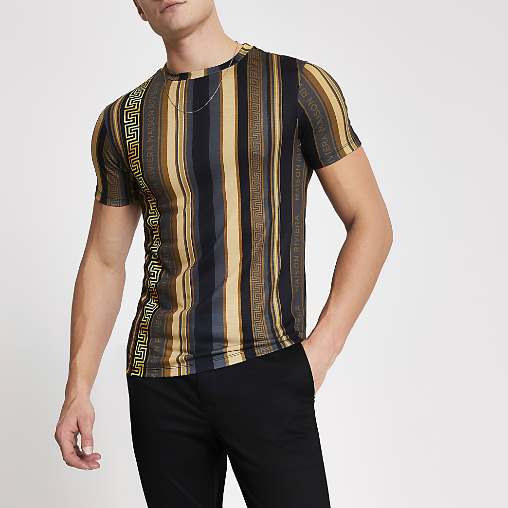 Maison Riviera gold print muscle fit T-shirt