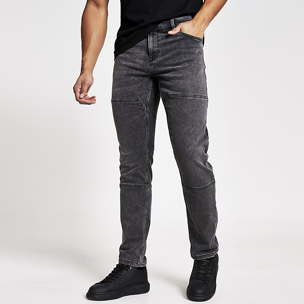 Only and Sons – Graue, abgenähte Slim Fit Jeans