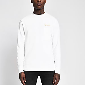 Prolific – Langärmeliges Skater-T-Shirt in Weiß