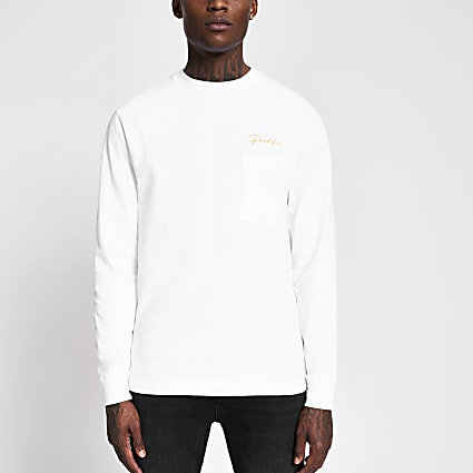 Prolific white long sleeve skater T-shirt