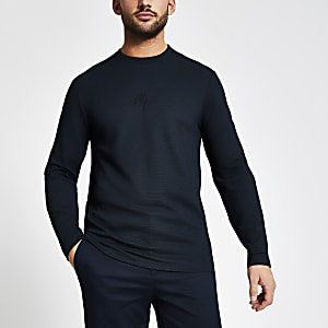 Maison Riviera – Marineblaues Slim Fit T-Shirt mit Struktur