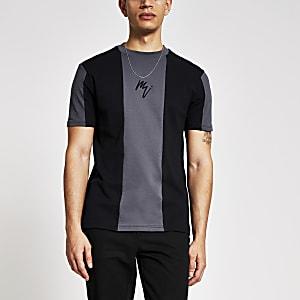 Maison Riviera – Schwarzes, figurbetontes T-Shirt mit Blockfarben