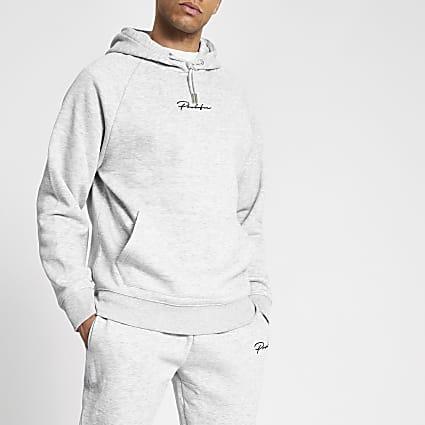 Prolific grey marl regular fit hoodie