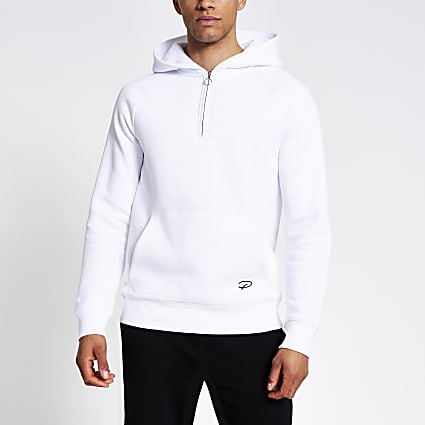 Prolific white half zip slim fit hoodie