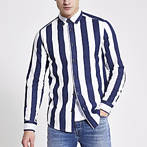Only and Sons – Marineblaues, gestreiftes Twill-Hemd