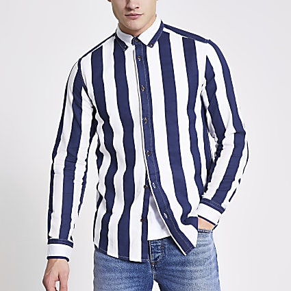 Only and Sons navy stripe twill shirt