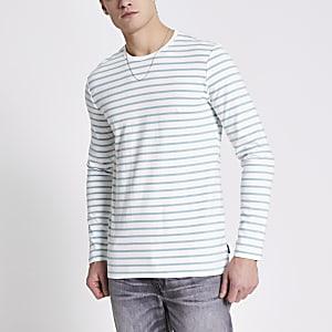 Only and Sons – Weißes T-Shirt mit Streifen