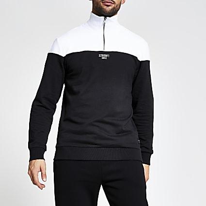 Only and Sons black block half zip sweatshirt