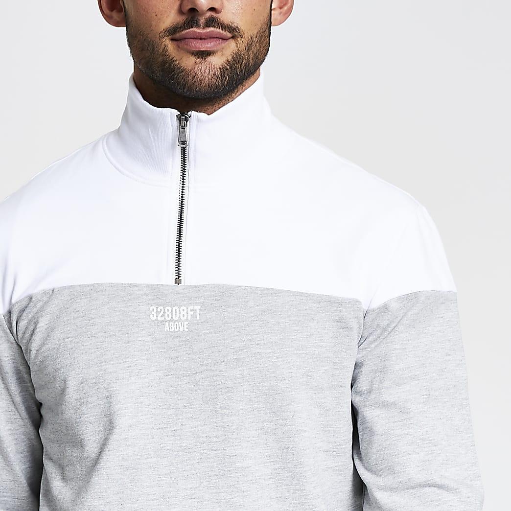 Only and Sons grey block half zip sweatshirt