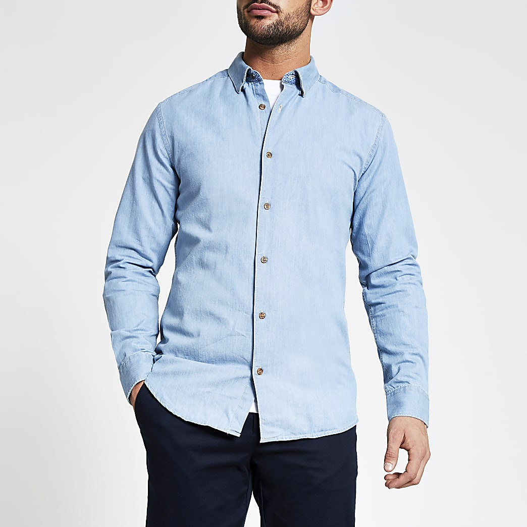 Only and Sons blue denim shirt