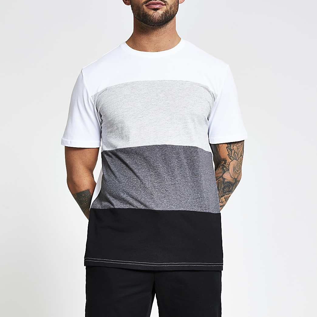Only and Sons white colour blocked T-shirt