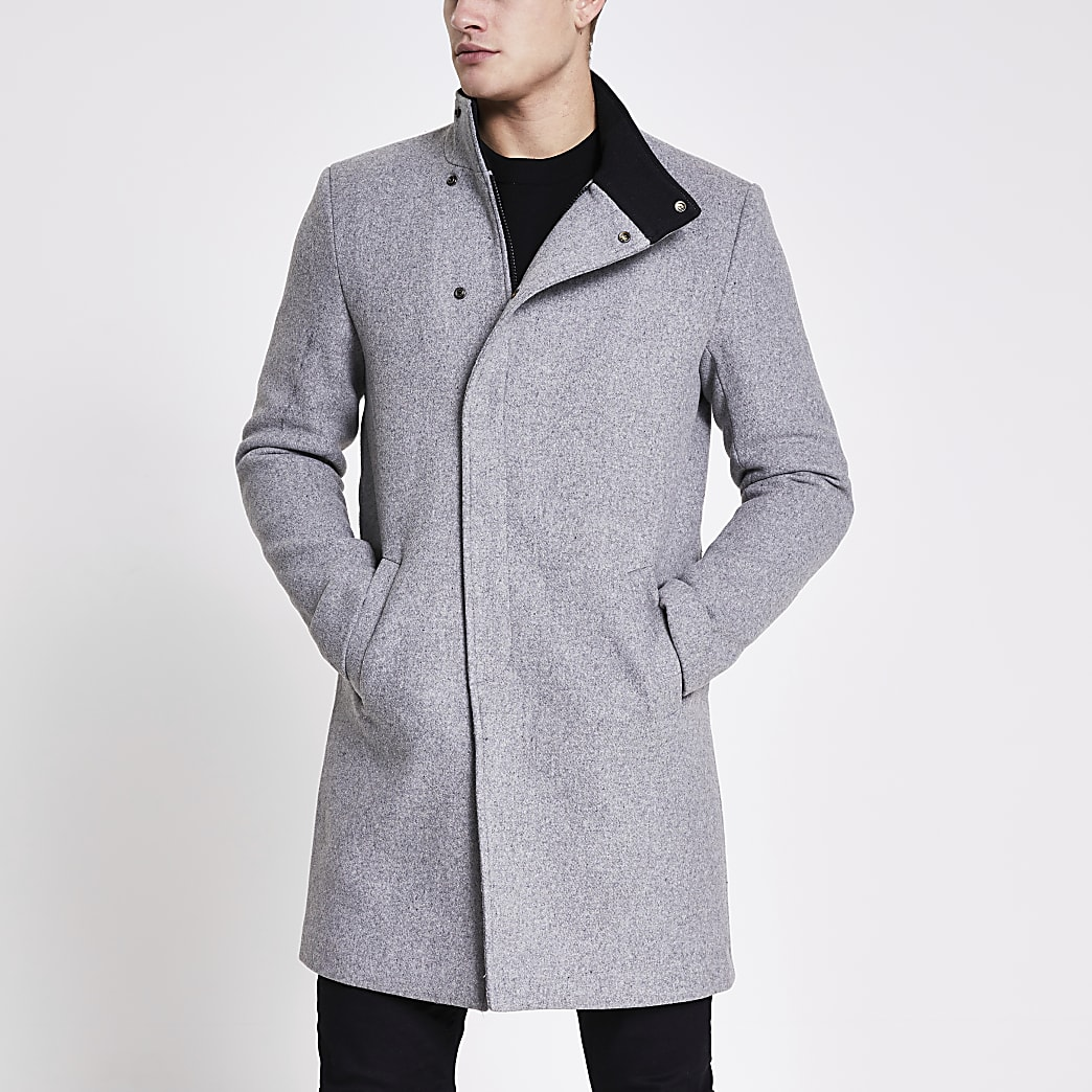 Only and Sons grey wool coat