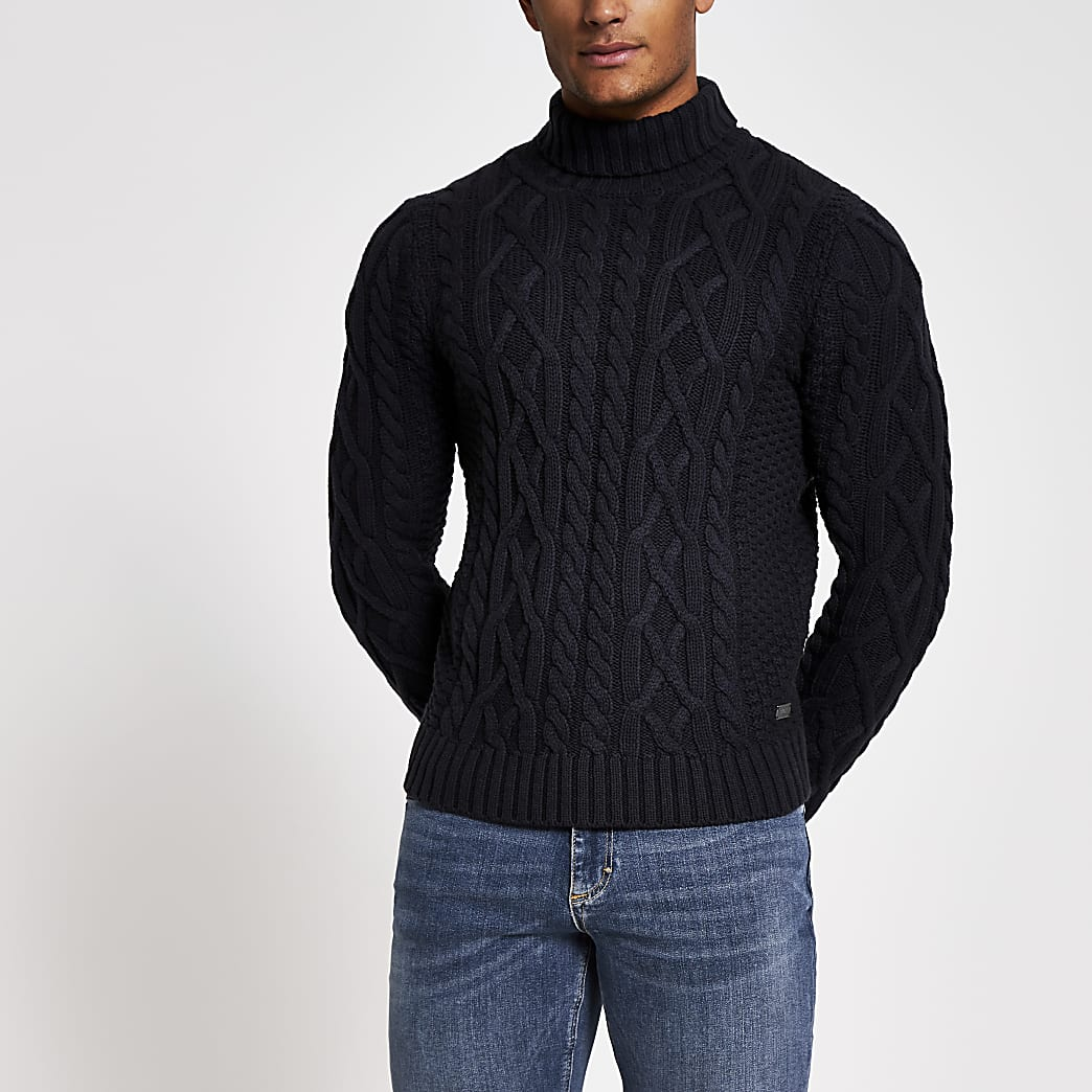 Only and Sons navy cable knitted jumper