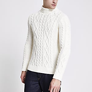 Only and Sons – Cremefarbener Strickpullover mit Zopfmuster