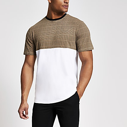 Only and Sons white check blocked T-shirt